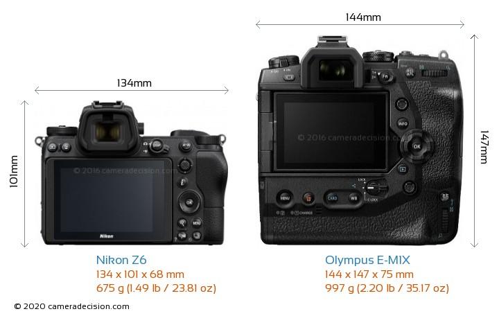 Nikon Z6 vs Olympus E-M1X Camera Size Comparison - Back View