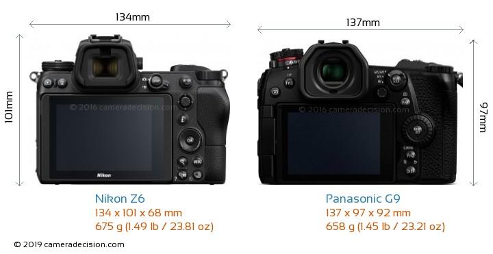 Nikon Z6 vs Panasonic G9 Camera Size Comparison - Back View