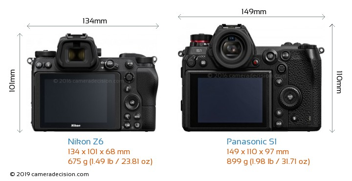 Nikon Z6 vs Panasonic S1 Camera Size Comparison - Back View