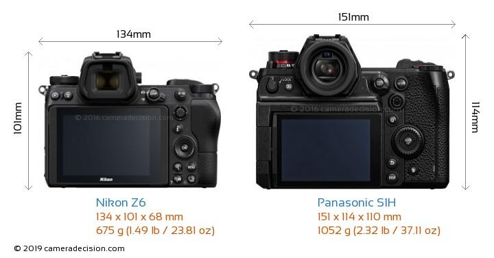 Nikon Z6 vs Panasonic S1H Camera Size Comparison - Back View