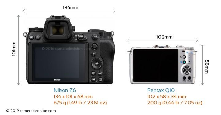 Nikon Z6 vs Pentax Q10 Camera Size Comparison - Back View