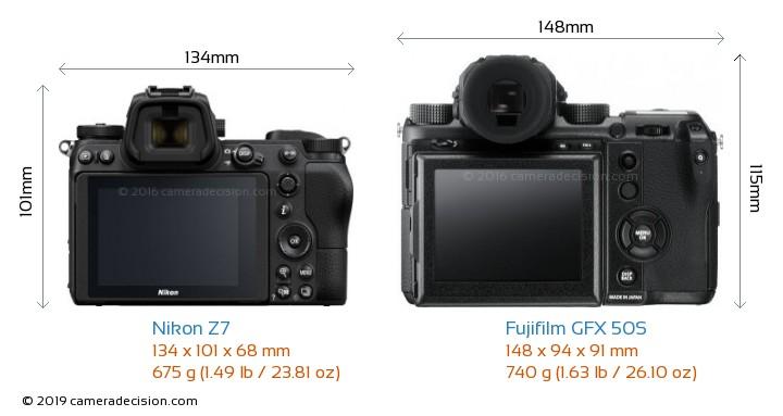Nikon Z7 vs Fujifilm GFX 50S Camera Size Comparison - Back View