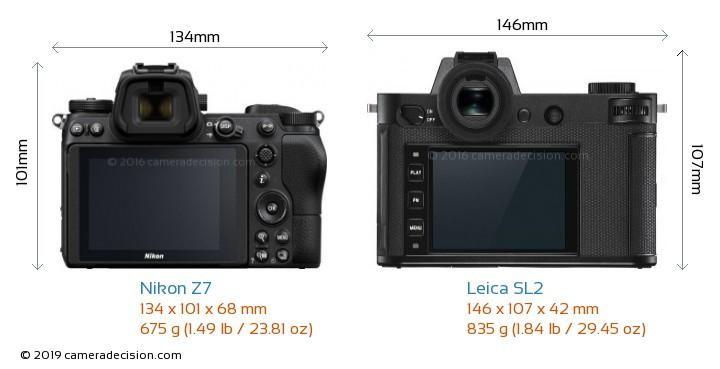 Nikon Z7 vs Leica SL2 Camera Size Comparison - Back View