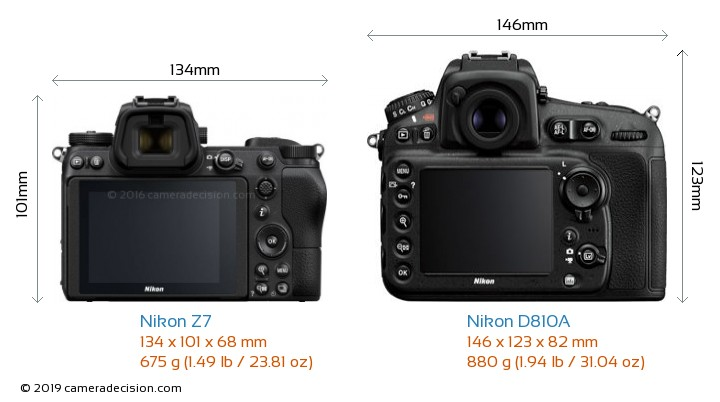 Nikon Z7 vs Nikon D810A Camera Size Comparison - Back View