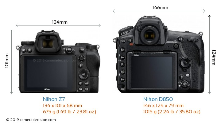 Nikon Z7 vs Nikon D850 Camera Size Comparison - Back View