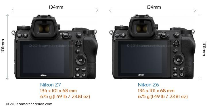 Nikon Z7 vs Nikon Z6 Camera Size Comparison - Back View