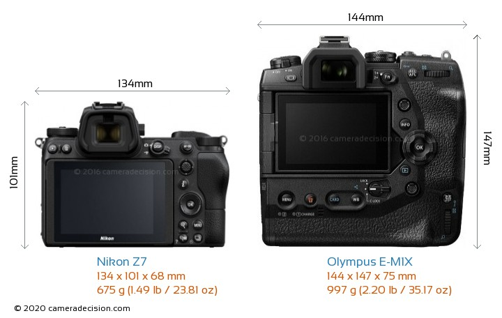 Nikon Z7 vs Olympus E-M1X Camera Size Comparison - Back View