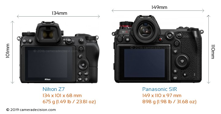 Nikon Z7 vs Panasonic S1R Camera Size Comparison - Back View