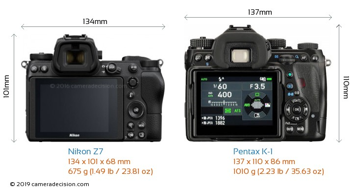 Nikon Z7 vs Pentax K-1 Camera Size Comparison - Back View