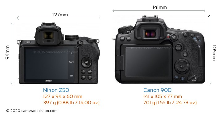 Nikon Z50 vs Canon 90D Camera Size Comparison - Back View