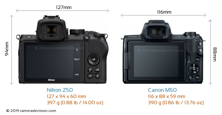 Nikon Z50 vs Canon M50 Camera Size Comparison - Back View