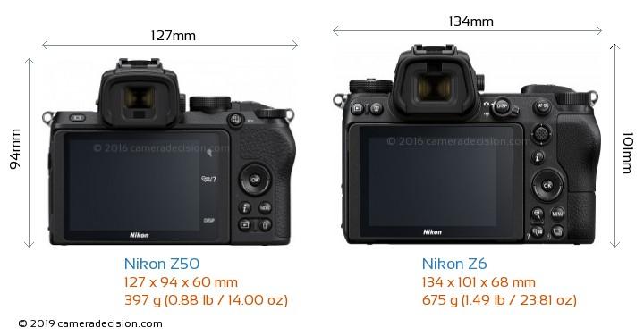 Nikon Z50 vs Nikon Z6 Camera Size Comparison - Back View