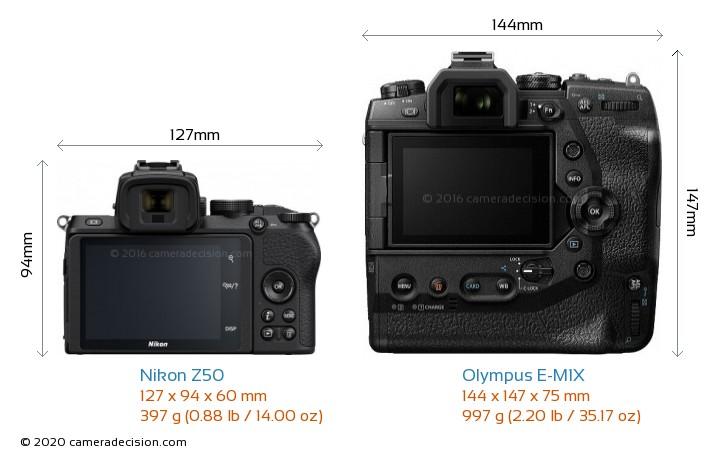 Nikon Z50 vs Olympus E-M1X Camera Size Comparison - Back View