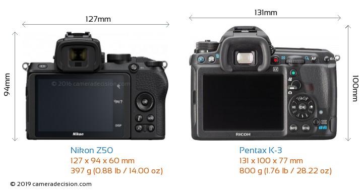 Nikon Z50 vs Pentax K-3 Camera Size Comparison - Back View