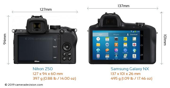 Nikon Z50 vs Samsung Galaxy NX Camera Size Comparison - Back View