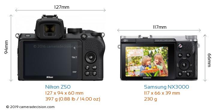 Nikon Z50 vs Samsung NX3000 Camera Size Comparison - Back View