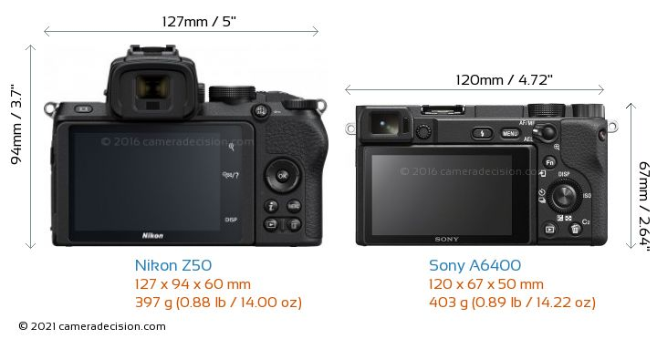 Nikon Z50 vs Sony A6400 Camera Size Comparison - Back View