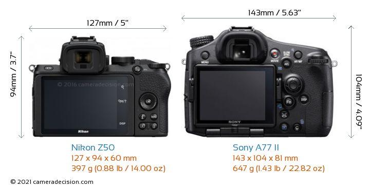 Nikon Z50 vs Sony A77 II Camera Size Comparison - Back View