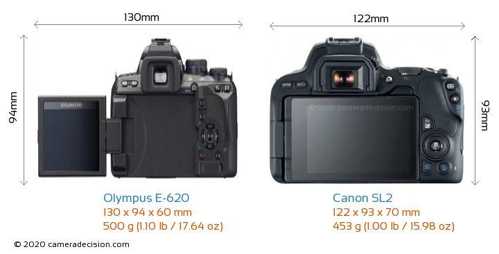 Olympus E-620 vs Canon SL2 Camera Size Comparison - Back View
