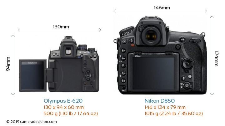 Olympus E-620 vs Nikon D850 Camera Size Comparison - Back View
