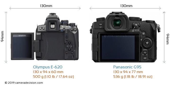 Olympus E-620 vs Panasonic G95 Camera Size Comparison - Back View