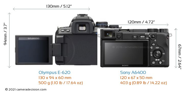Olympus E-620 vs Sony A6400 Camera Size Comparison - Back View