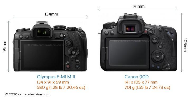Olympus E-M1 MIII vs Canon 90D Camera Size Comparison - Back View
