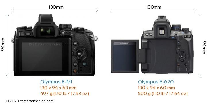 Olympus E-M1 vs Olympus E-620 Camera Size Comparison - Back View