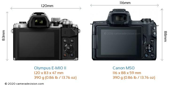 Olympus E-M10 II vs Canon M50 Camera Size Comparison - Back View