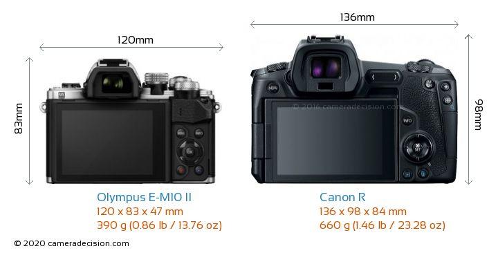 Olympus E-M10 II vs Canon R Camera Size Comparison - Back View