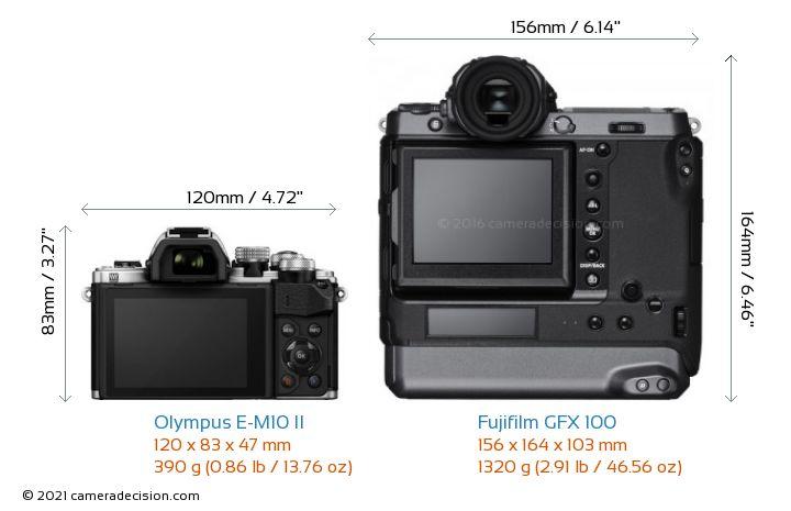 Olympus E-M10 II vs Fujifilm GFX 100 Camera Size Comparison - Back View