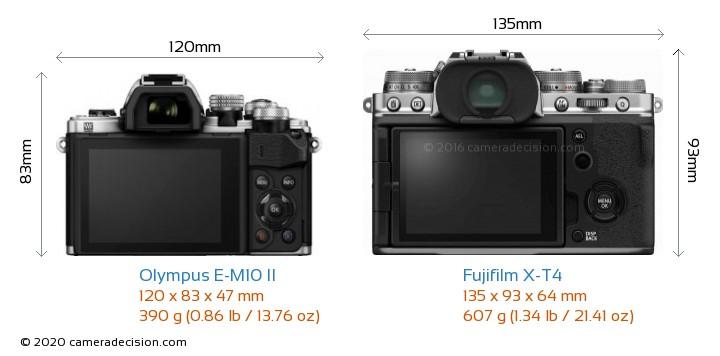 Olympus E-M10 II vs Fujifilm X-T4 Camera Size Comparison - Back View