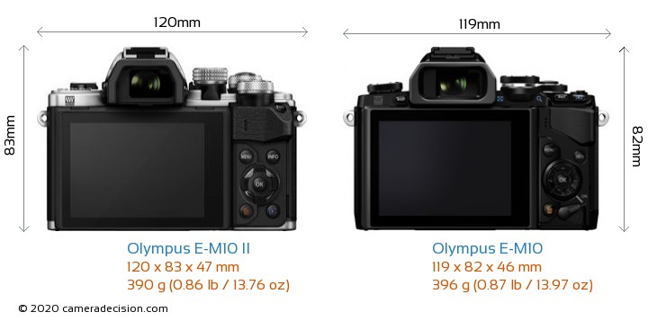 Olympus E-M10 II vs Olympus E-M10 Camera Size Comparison - Back View