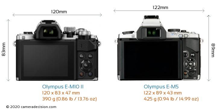 Olympus E-M10 II vs Olympus E-M5 Camera Size Comparison - Back View