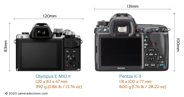 Olympus E-M10 II vs Pentax K-3 Camera Size Comparison - Back View