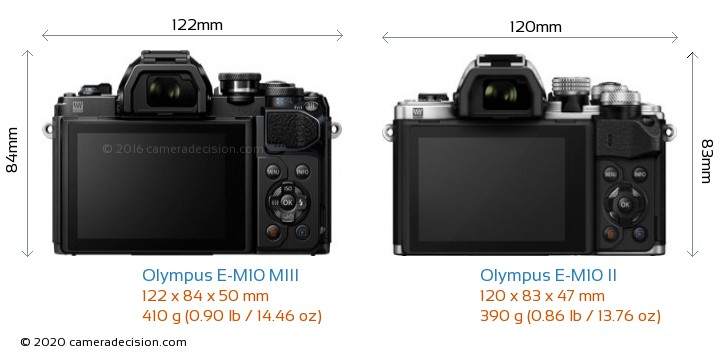 Olympus E-M10 MIII vs Olympus E-M10 II Camera Size Comparison - Back View