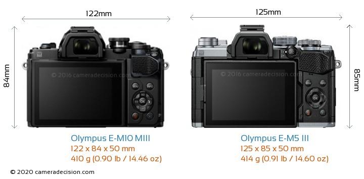 Olympus E-M10 MIII vs Olympus E-M5 III Camera Size Comparison - Back View