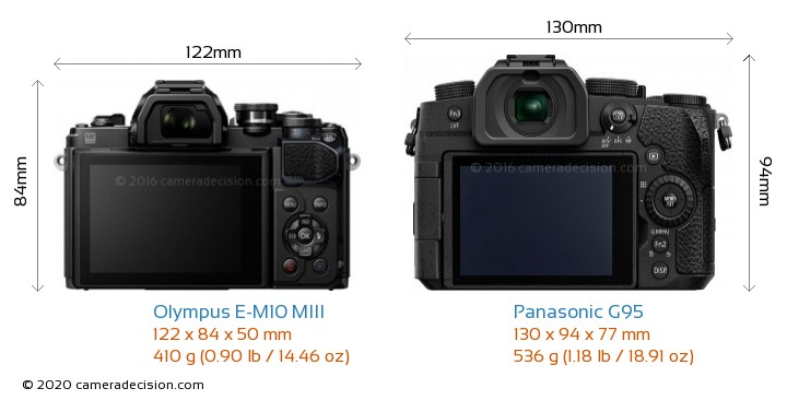 Olympus E-M10 MIII vs Panasonic G95 Camera Size Comparison - Back View