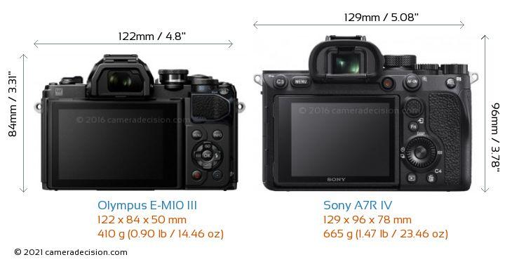 Olympus E-M10 MIII vs Sony A7R IV Camera Size Comparison - Back View