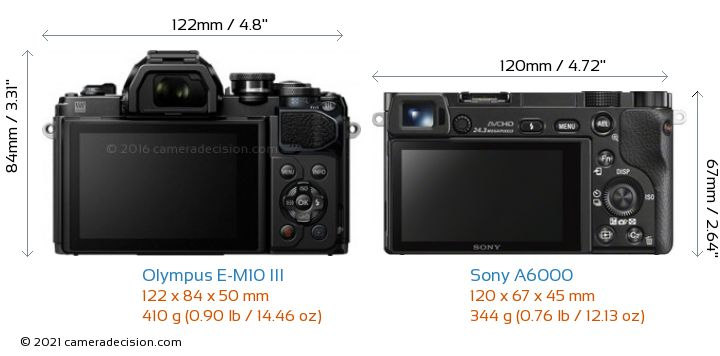 Olympus E-M10 MIII vs Sony A6000 Camera Size Comparison - Back View