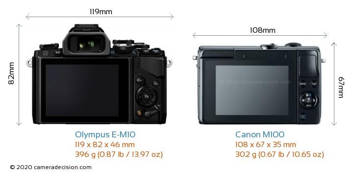 Olympus E-M10 vs Canon M100 Camera Size Comparison - Back View