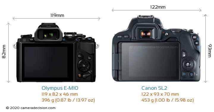 Olympus E-M10 vs Canon SL2 Camera Size Comparison - Back View