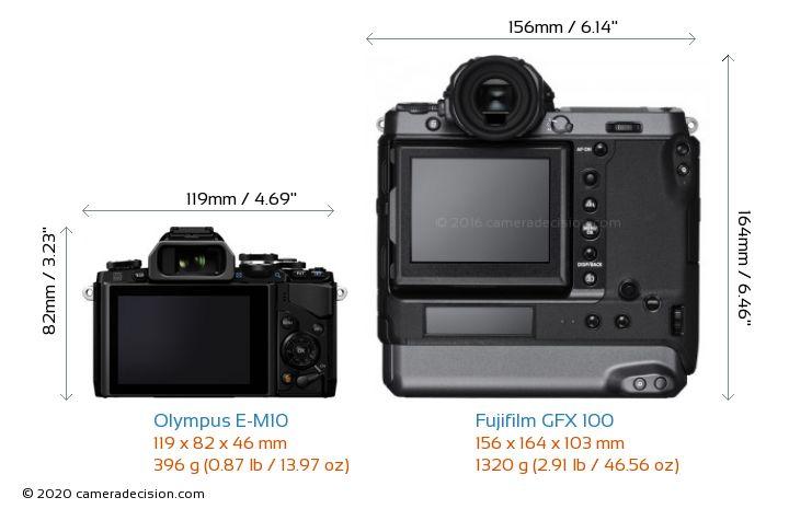 Olympus E-M10 vs Fujifilm GFX 100 Camera Size Comparison - Back View