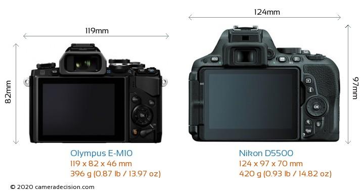 Olympus E-M10 vs Nikon D5500 Camera Size Comparison - Back View