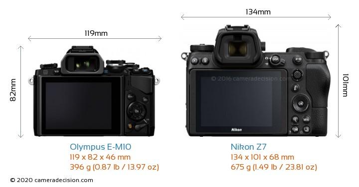 Olympus E-M10 vs Nikon Z7 Camera Size Comparison - Back View