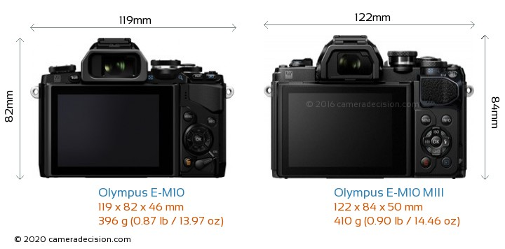 Olympus E-M10 vs Olympus E-M10 MIII Camera Size Comparison - Back View