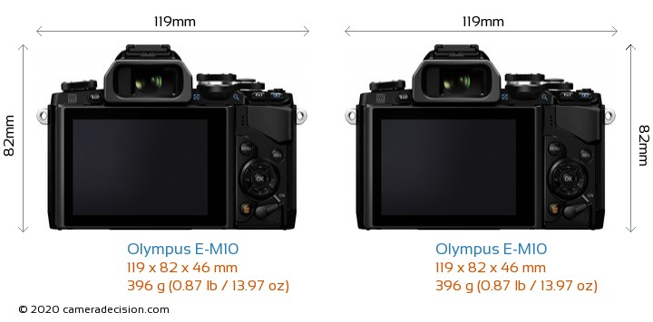 Olympus E-M10 vs Olympus E-M10 Camera Size Comparison - Back View