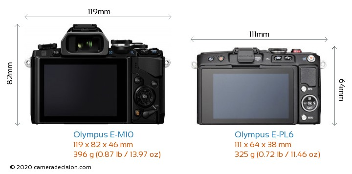 Olympus E-M10 vs Olympus E-PL6 Camera Size Comparison - Back View