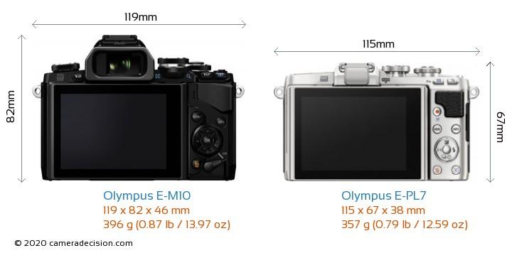 Olympus E-M10 vs Olympus E-PL7 Camera Size Comparison - Back View