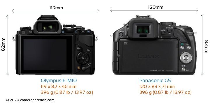 Olympus E-M10 vs Panasonic G5 Camera Size Comparison - Back View